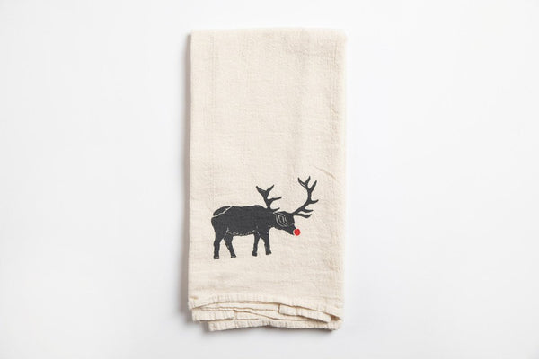 Tea Towel - Red Nose Elk - Bird and Buffalo, Made in Jackson Hole, WY
