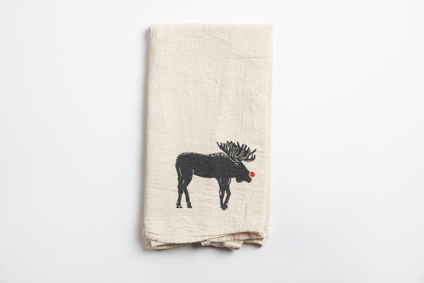 Tea Towel - Red Nose Moose - Bird and Buffalo, Made in Jackson Hole, WY