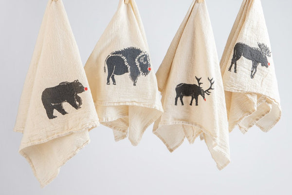 Tea Towel - Set of 4 Red Nose Animals - Bird and Buffalo, Made in Jackson Hole, WY