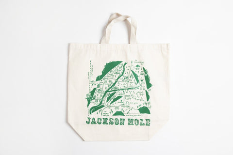 Tote Bag - Jackson Hole Map - Bird and Buffalo, Made in Jackson Hole, WY