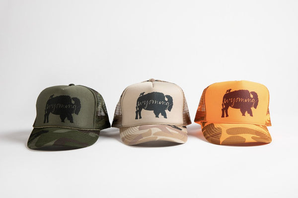 Trucker Hat Green Camo BB Wyoming - Bird and Buffalo, Made in Jackson Hole, WY