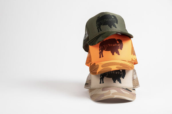 Trucker Hat Orange Camo BB Wyoming - Bird and Buffalo, Made in Jackson Hole, WY