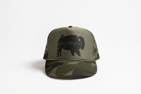 Trucker Hat Green Camo BB Wyoming - Bird & Buffalo