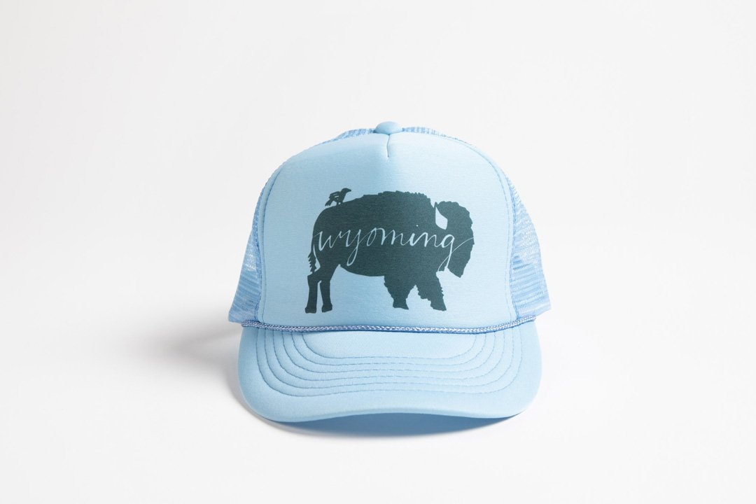 Trucker Hat Light Baby Blue BB Wyoming - Bird and Buffalo, Made in Jackson Hole, WY