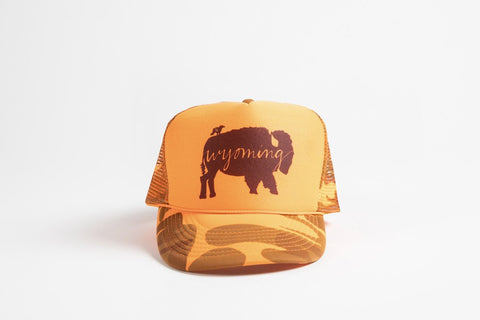 Trucker Hat Orange Camo BB Wyoming - Bird & Buffalo