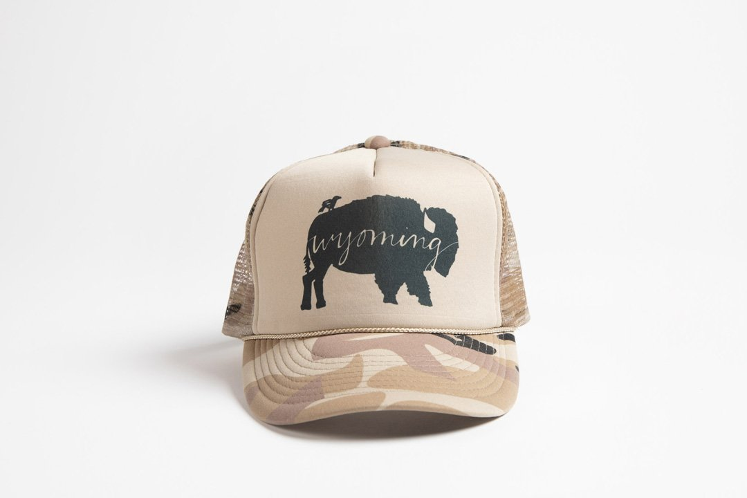 Trucker Hat Tan Camo BB Wyoming - Bird and Buffalo, Made in Jackson Hole, WY