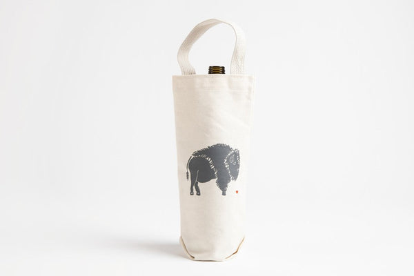 Wine Tote - Bison - Bird and Buffalo, Made in Jackson Hole, WY
