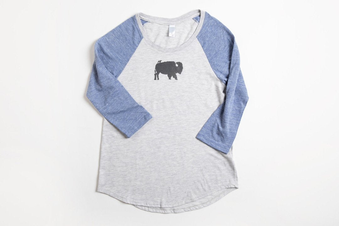 Bird and Buffalo Women's Baseball Shirt Blue/Gray - Bird & Buffalo