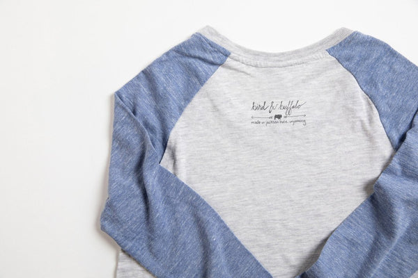 JH Circle Logo Women's Baseball Shirt Blue/Gray - Bird and Buffalo, Made in Jackson Hole, WY