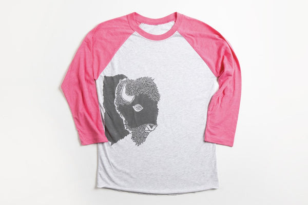 Bison Profile Women's Baseball Shirt Pink/Gray - Bird and Buffalo, Made in Jackson Hole, WY