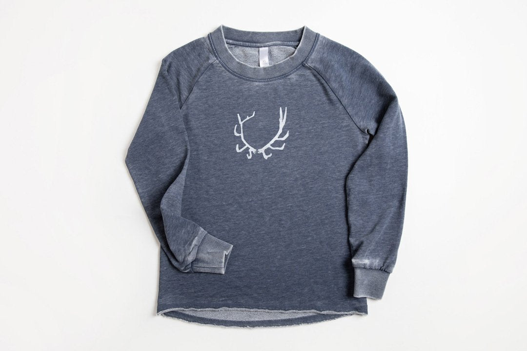 Antler Women's Terry Pullover - Bird and Buffalo, Made in Jackson Hole, WY