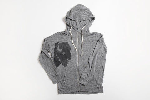 Bison Profile Women's Zipper Hoodie - Bird and Buffalo, Made in Jackson Hole, WY