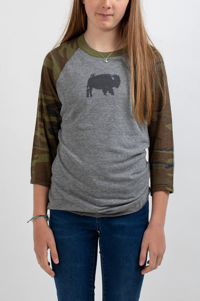 Bird and Buffalo Women's Baseball Shirt Camo - Bird and Buffalo, Made in Jackson Hole, WY