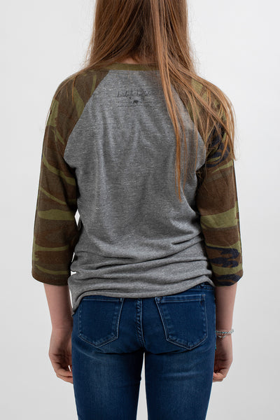 Antler Women's Baseball Shirt Camo - Bird and Buffalo, Made in Jackson Hole, WY
