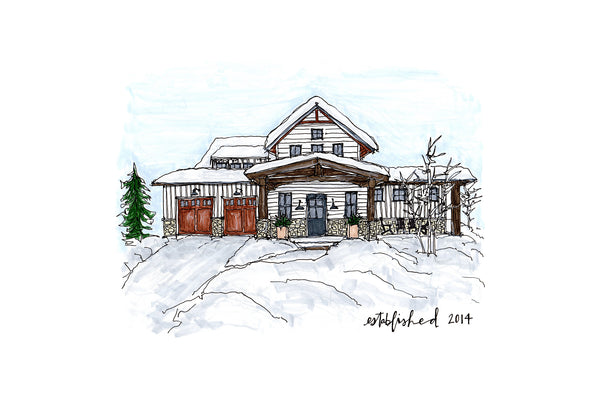 Hand Drawn House Portrait - Bird and Buffalo, Made in Jackson Hole, WY