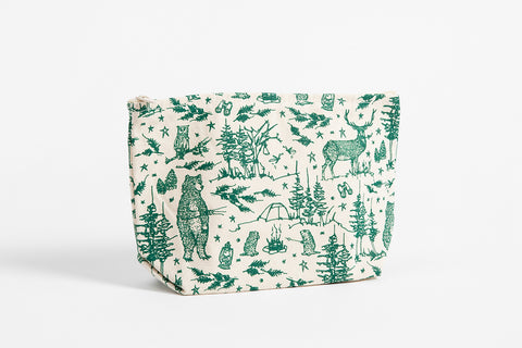Zipper Bag - Camping Scene - Bird and Buffalo, Made in Jackson Hole, WY