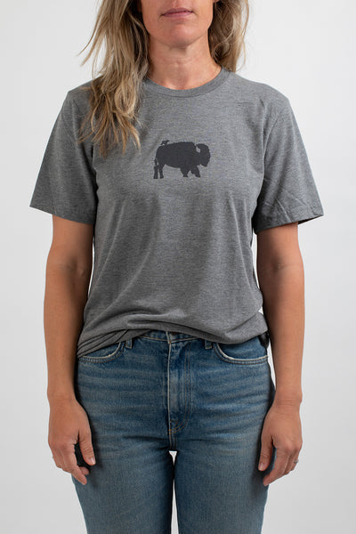 Womens Short Sleeve Gray Bird and Buffalo - Bird and Buffalo, Made in Jackson Hole, WY