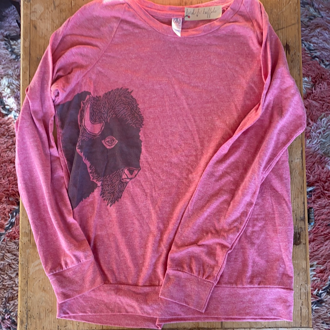 SALE - Women's Pullover - Bison Profile - Bird and Buffalo, Made in Jackson Hole, WY