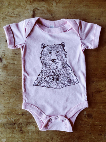 SALE - Baby Onesie - Bear Holding Flowers - Bird & Buffalo