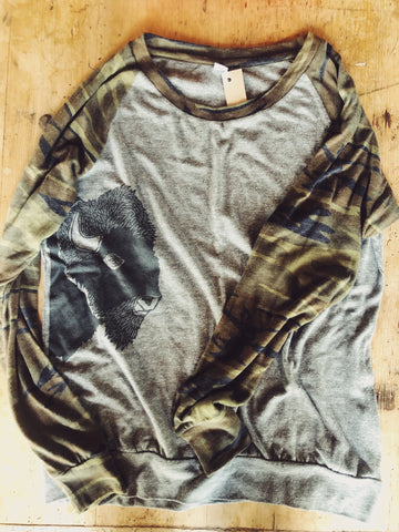SALE - Women's Camo Slouchy Shirt - Bison Profile - Bird and Buffalo, Made in Jackson Hole, WY