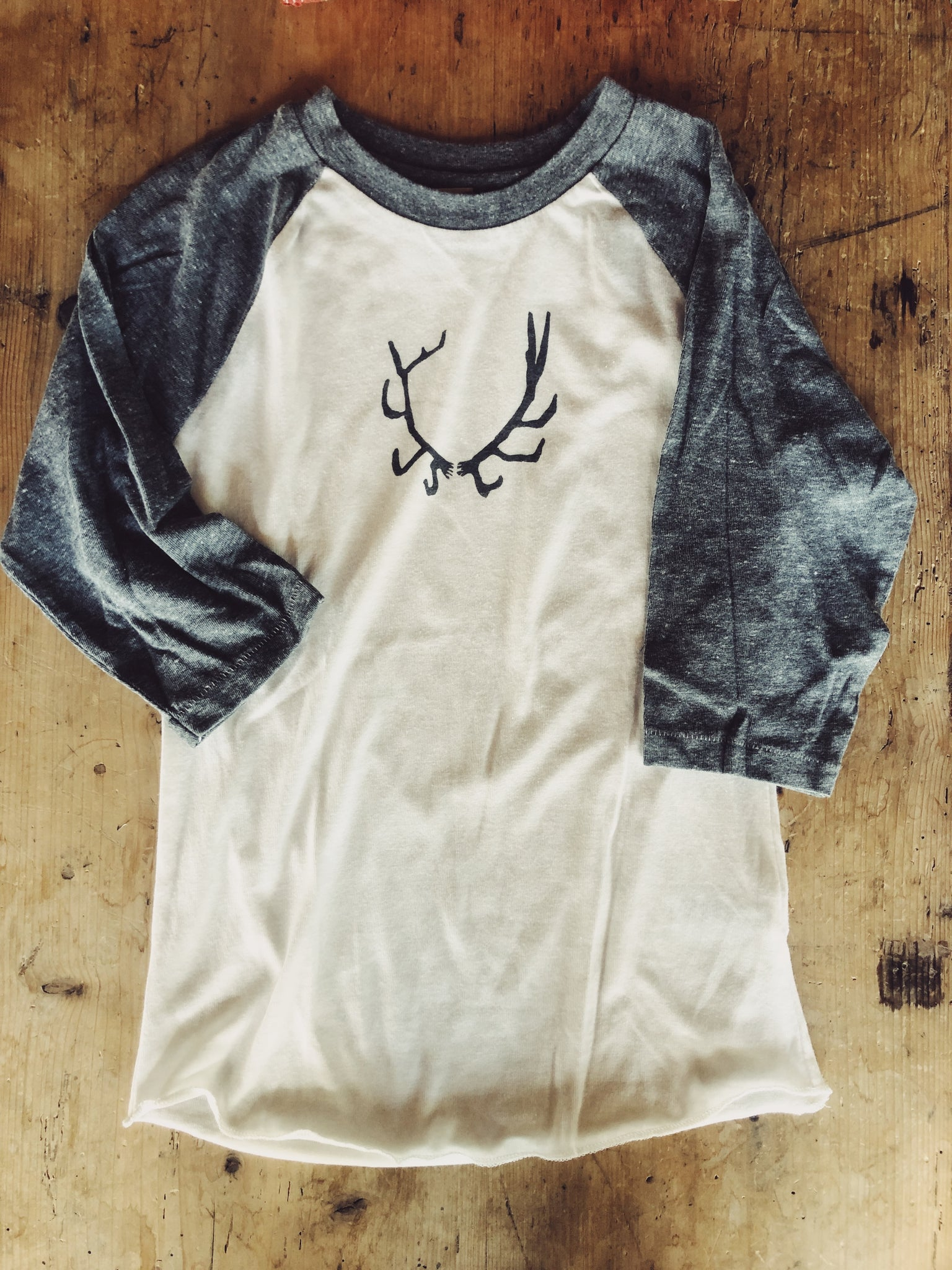 SALE - Women's Baseball Shirt -Antler - Bird and Buffalo, Made in Jackson Hole, WY