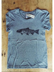 SALE Short Sleeve T-Shirt - Trout - Bird and Buffalo, Made in Jackson Hole, WY