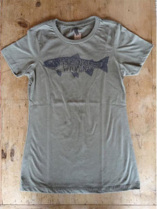 SALE JH Trout Women's Short Sleeve in Military Green - Bird and Buffalo, Made in Jackson Hole, WY
