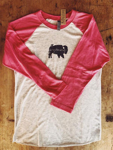SALE Women's Pink Baseball T-Shirt - Bird and Buffalo with Wyoming Logo - Bird and Buffalo, Made in Jackson Hole, WY