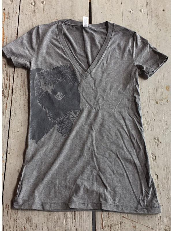 SALE V-Neck Short Sleeve - Bison Profile - Bird and Buffalo, Made in Jackson Hole, WY