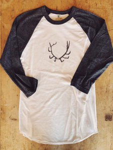 SALE Baseball T-Shirt Large Antler Design - Bird and Buffalo, Made in Jackson Hole, WY