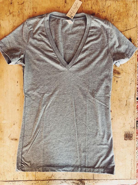 SALE Women's V-Neck JH Circle logo - Bird and Buffalo, Made in Jackson Hole, WY