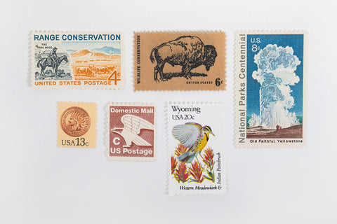 Vintage Wyoming Postage Stamps - Bird and Buffalo, Made in Jackson Hole, WY