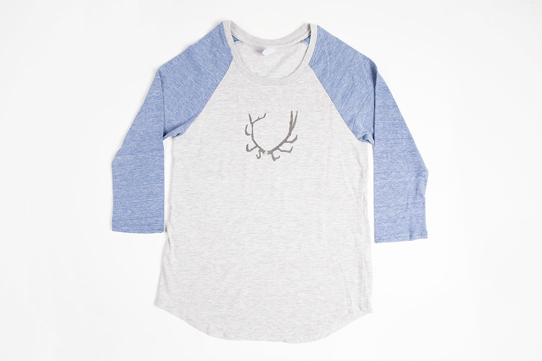 Antler Women's Baseball Shirt Blue/Gray - Bird and Buffalo, Made in Jackson Hole, WY