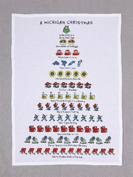 A Michigan Christmas Tea Towel