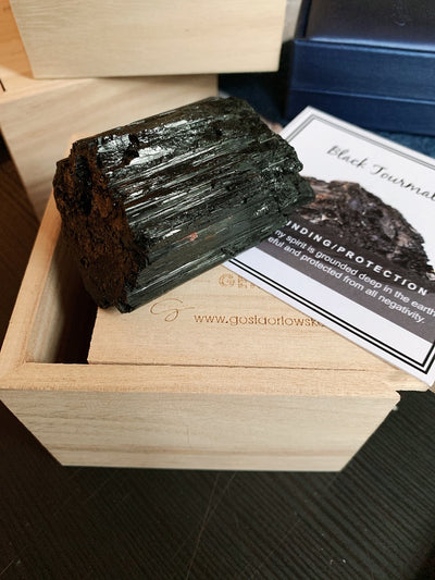 Black Tourmaline Crystal Box (Grounding, Security) - enhale