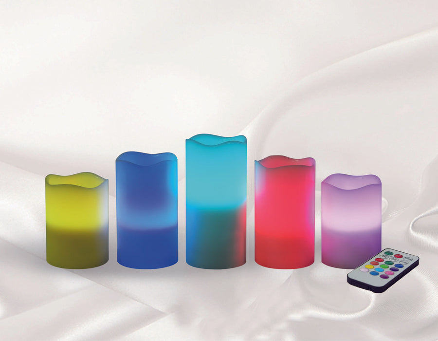 LED RGB Changing Color Wax candle with remote Set of 5