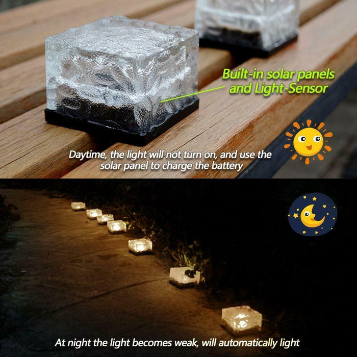 LED Solar Brick Light/4 Pack White