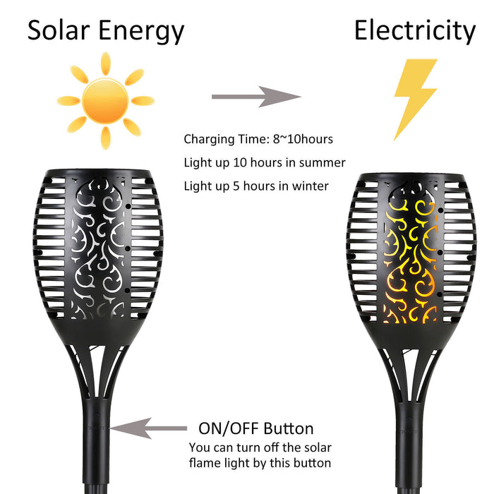 LED Solar Flame Tiki Torch Light Dancing Flickering Flame Lamp/2PACK- Free Shipping
