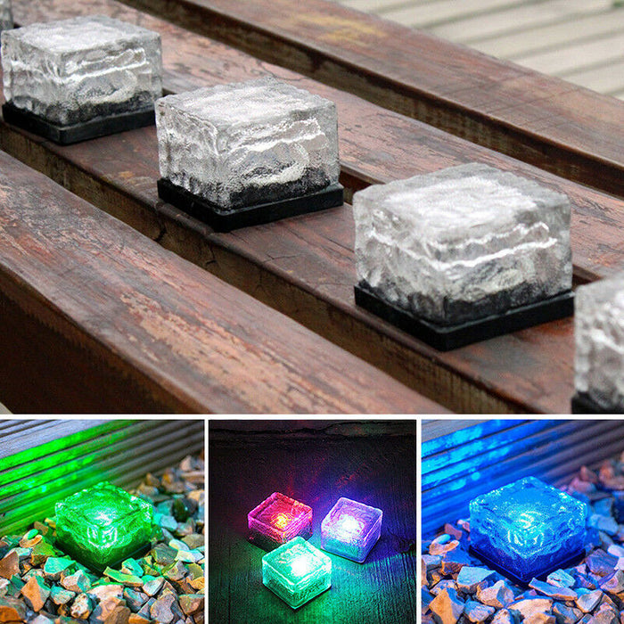 LED Solar Brick Light/4 Pack RGB Changing Color