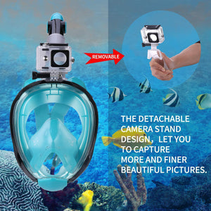 180° Full Face Snorkel Mask, Anti-fog Anti-leak Technology, ONE SIZE FOR ALL ADULTS AND KIDS