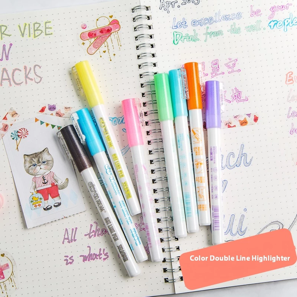 (Buy More Save More !)Gift Card Writing&Drawing Double Line Outline Pen, 8 Colors