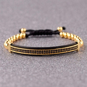 60% OFF! - Luxury 3Pcs/Set CZ Crown Metal Bracelets Brass Mens Beaded Bracelet