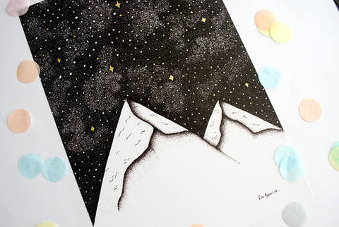 Space mountains print