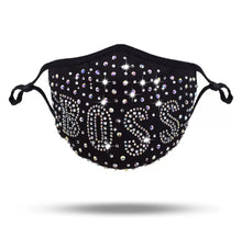 Load image into Gallery viewer, *Boss* Rhinestone Adjustable Face Mask