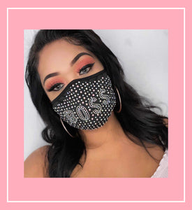 *Boss* Rhinestone Adjustable Face Mask