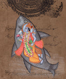 Vishnu Matsya Art Handmade Hindu God Fish Incarnation Avatar Watercolor Painting
