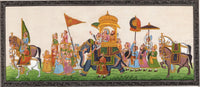 Rajasthan Maharajah Procession Art Handmade Indian Royal Ethnic Folk Painting