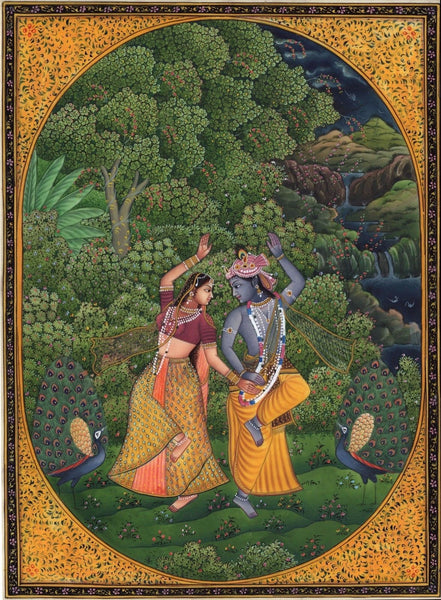 Krishna Radha Cosmic Dance Art Handmade Indian Miniature Hindu Krishn Painting