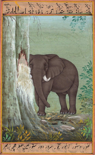 African Elephant Painting Handmade Wild Life Miniature Animal Watercolor Art