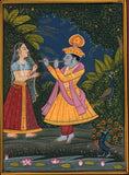 Krishna Radha Painting Handmade Indian Hindu Religious God Goddess Ethnic Art